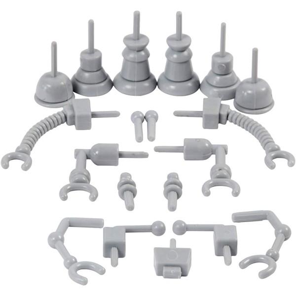 Parties de robot en plastique pour pâte à modeler - 0,5 à 6 cm - 19 pcs - Photo n°1