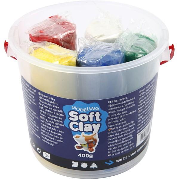 Assortiment de pâte à modeler douce Soft Clay - Couleurs classiques - 5 x 80 gr - Photo n°1