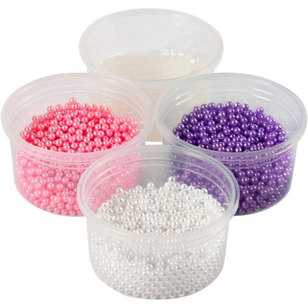 Assortiment de pâte à modeler à billes Pearl Clay - Rose violet et blanc - Photo n°1