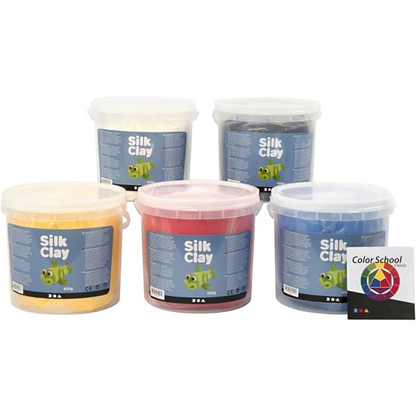 Assortiment de pâtes autodurcissantes Silk Clay - Couleurs Primaires - 5 x 650 g - Photo n°1