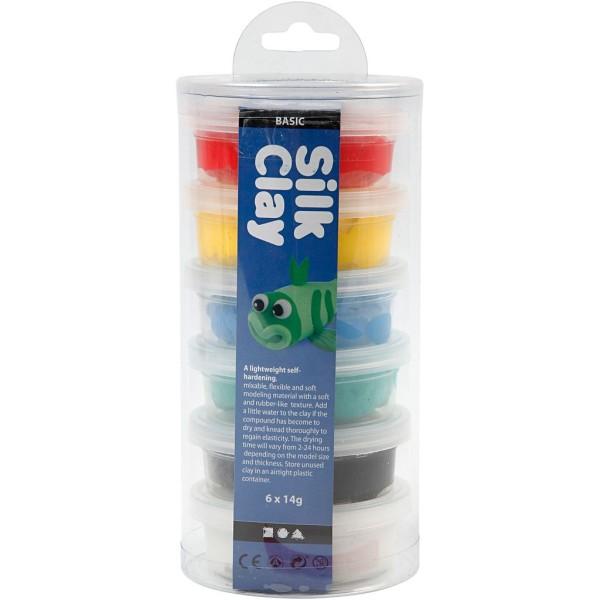 Assortiment de pâte à modeler auto-durcissante Silk Clay - Couleurs classiques - 6 x 14 gr - Photo n°2