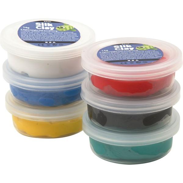 Assortiment de pâte à modeler auto-durcissante Silk Clay - Couleurs classiques - 6 x 14 gr - Photo n°1
