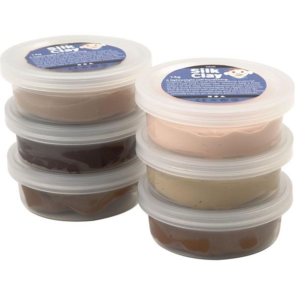 Assortiment de pâte à modeler auto-durcissante Silk Clay - Couleurs chair - 6 x 14 gr - Photo n°1