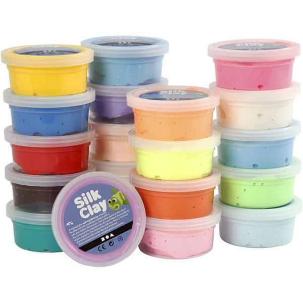 Assortiment de pâte à modeler auto-durcissante Silk Clay - 20 x 40 gr - Photo n°1