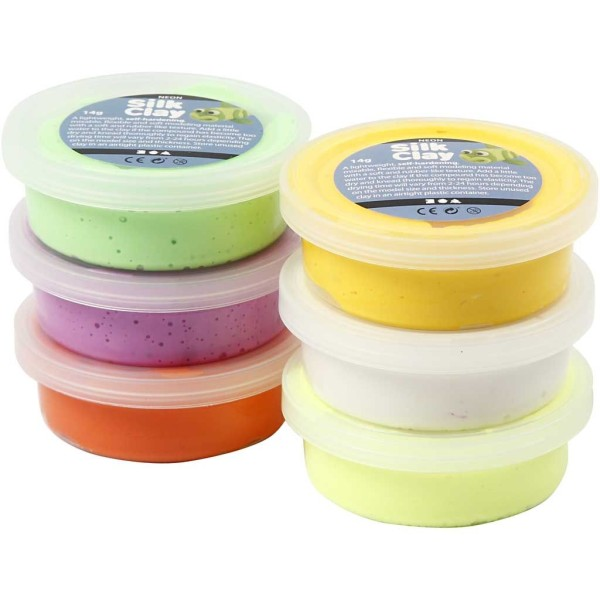 Assortiment de pâte à modeler auto-durcissante Silk Clay - Pâques - 6 x 14 gr - Photo n°1
