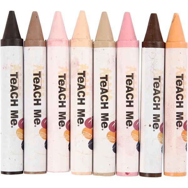 Assortiment de pastels de cire - Couleurs de peau - 8 pcs - Photo n°1
