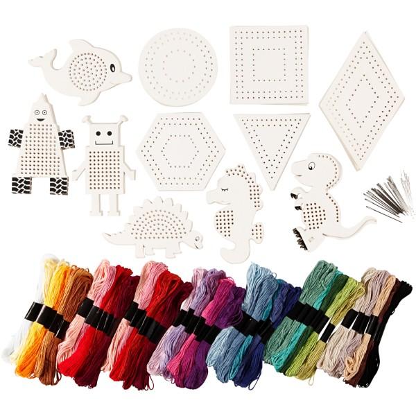 Kit broderie - Animaux et formes géométriques en carton - 181 pcs - Photo n°1