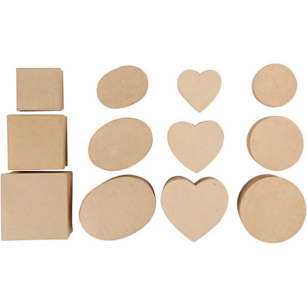 Assortiment de boîtes en papier mâché - De 10 à 18 cm - 72 pcs - Photo n°2