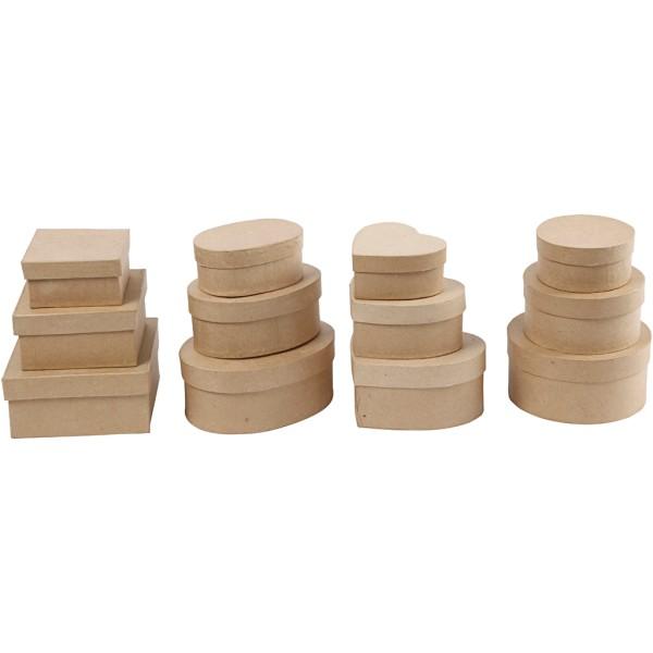 Assortiment de boîtes en papier mâché - De 10 à 18 cm - 72 pcs - Photo n°3