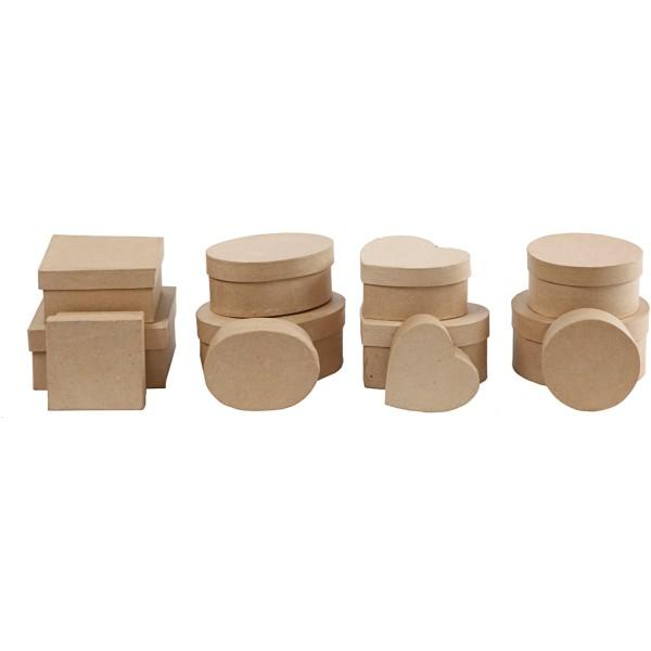 Assortiment de boîtes en papier mâché - De 10 à 18 cm - 72 pcs - Photo n°4