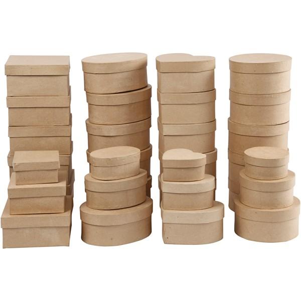 Assortiment de boîtes en papier mâché - De 10 à 18 cm - 72 pcs - Photo n°1
