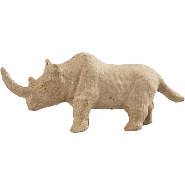 Rhinocéros en papier mâché à décorer - 7,5 x 18 cm - Photo n°1