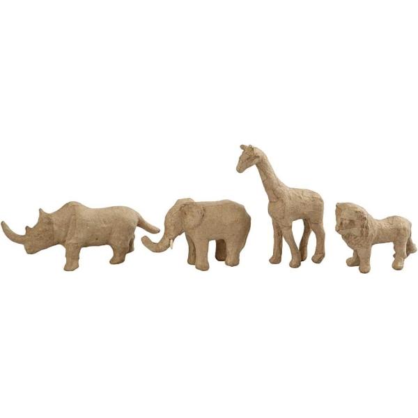 Lot d'animaux de la savane en papier mâché à décorer - 7,5 à 10 cm - 32 pcs - Photo n°3