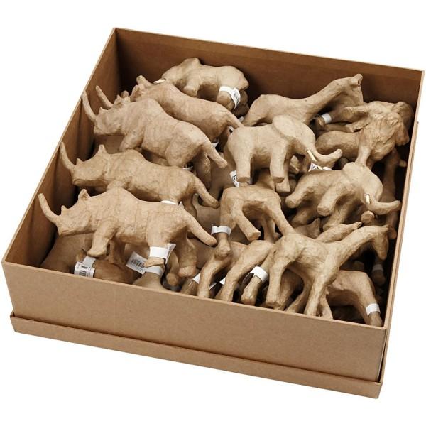 Lot d'animaux de la savane en papier mâché à décorer - 7,5 à 10 cm - 32 pcs - Photo n°1