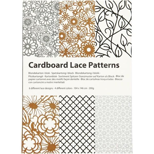 Bloc de papier cartonné aux motifs Dentelle - Gris, noir, blanc, naturel - Format A6 - 24 feuilles - Photo n°2