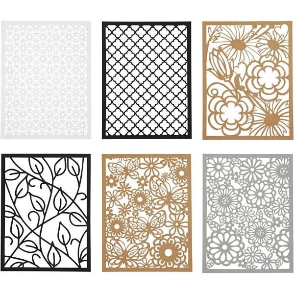 Bloc de papier cartonné aux motifs Dentelle - Gris, noir, blanc, naturel - Format A6 - 24 feuilles - Photo n°1