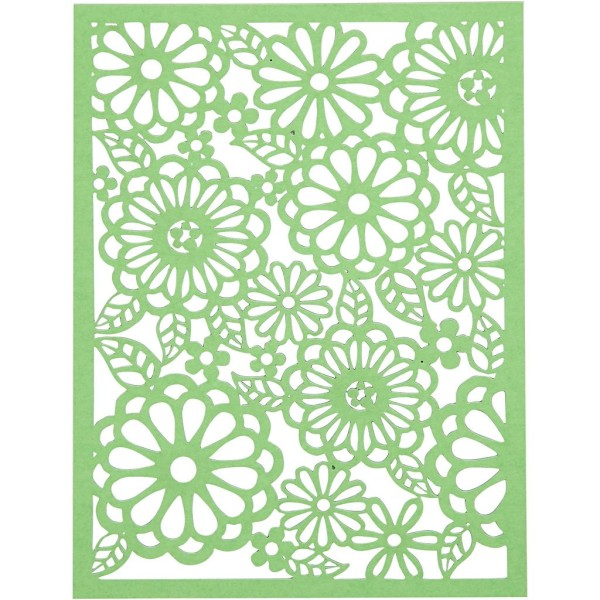 Bloc de papier cartonné aux motifs Dentelle - Vert et jaune - Format A6 - 24 feuilles - Photo n°2