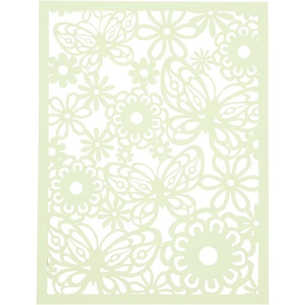 Bloc de papier cartonné aux motifs Dentelle - Vert et jaune - Format A6 - 24 feuilles - Photo n°3