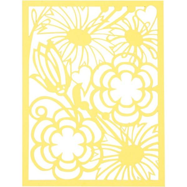 Bloc de papier cartonné aux motifs Dentelle - Vert et jaune - Format A6 - 24 feuilles - Photo n°5