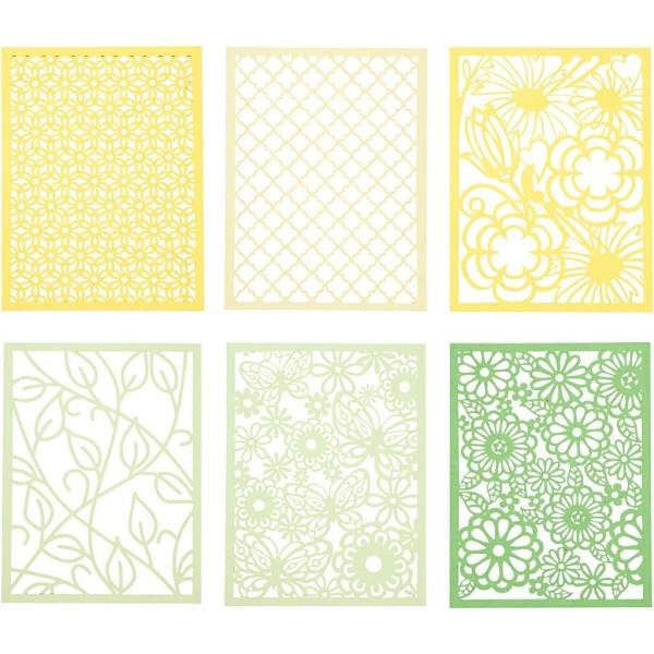 Bloc de papier cartonné aux motifs Dentelle - Vert et jaune - Format A6 - 24 feuilles - Photo n°1
