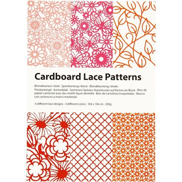 Bloc de papier cartonné aux motifs Dentelle - Rouge, rose et orange - Format A6 - 24 feuilles - Photo n°2