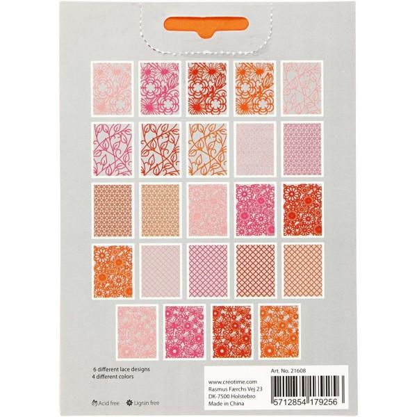 Bloc de papier cartonné aux motifs Dentelle - Rouge, rose et orange - Format A6 - 24 feuilles - Photo n°3