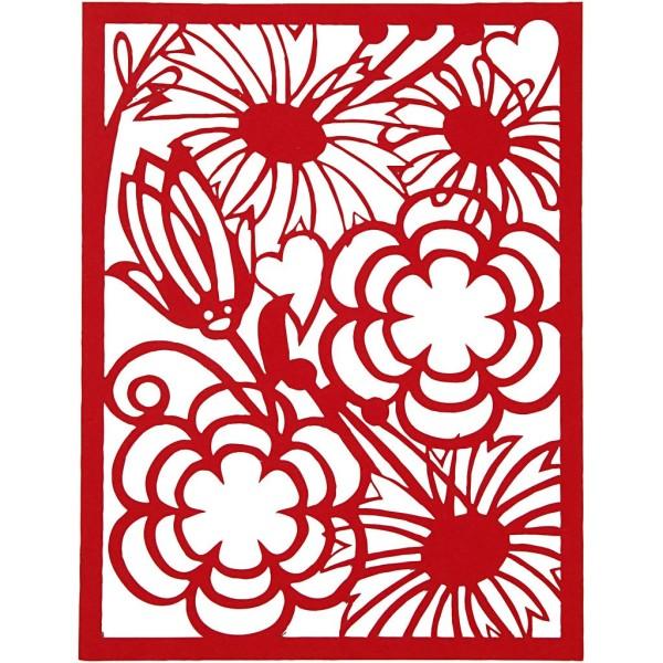 Bloc de papier cartonné aux motifs Dentelle - Rouge, rose et orange - Format A6 - 24 feuilles - Photo n°5
