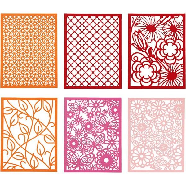 Bloc de papier cartonné aux motifs Dentelle - Rouge, rose et orange - Format A6 - 24 feuilles - Photo n°1