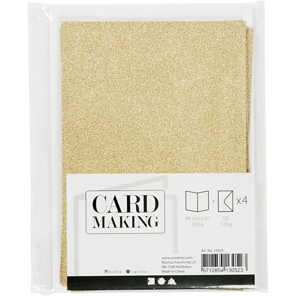 Cartes doubles et enveloppes - Paillettes dorées - 10,5 x 15 cm - 8 pcs - Photo n°2