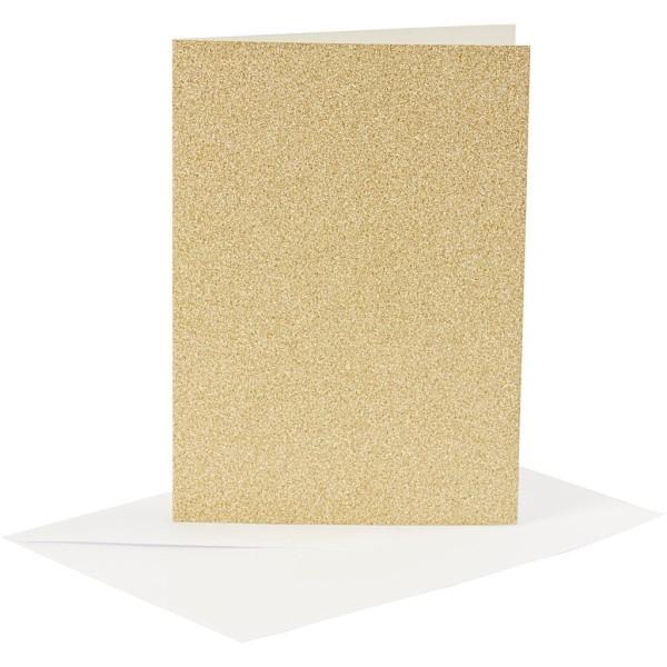 Cartes doubles et enveloppes - Paillettes dorées - 10,5 x 15 cm - 8 pcs - Photo n°1