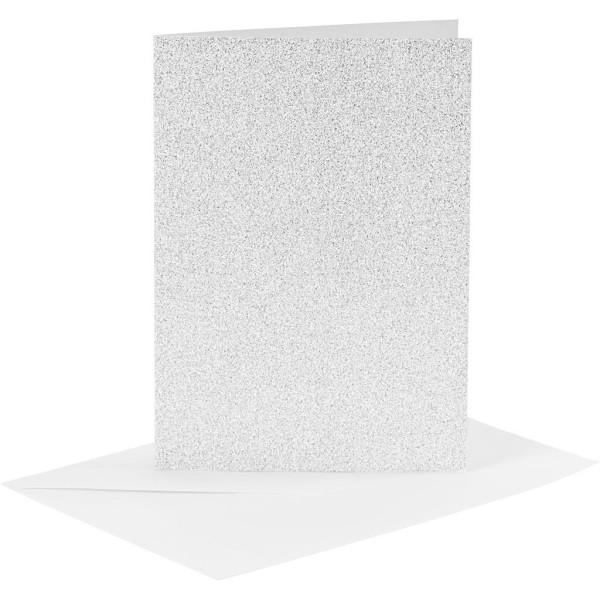Cartes doubles et enveloppes - Paillettes argentées - 10,5 x 15 cm - 8 pcs - Photo n°1