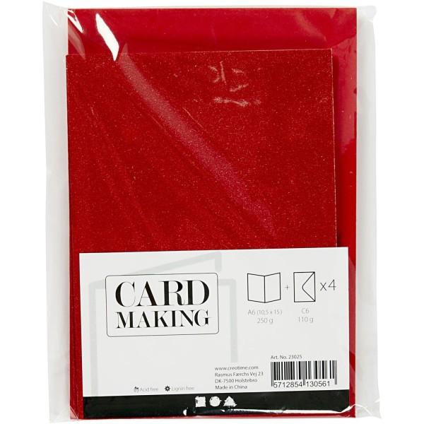 Cartes doubles et enveloppes - Paillettes rouges - 10,5 x 15 cm - 8 pcs - Photo n°2