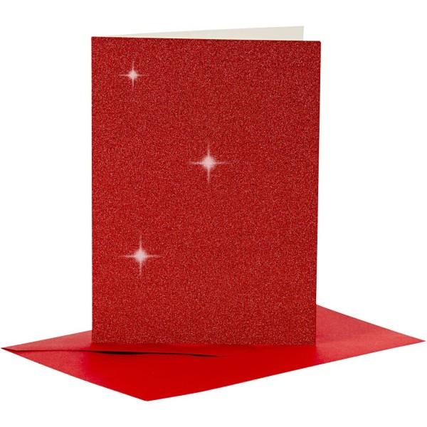 Cartes doubles et enveloppes - Paillettes rouges - 10,5 x 15 cm - 8 pcs - Photo n°1