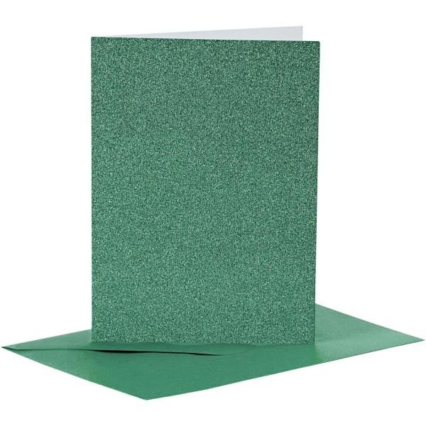 Cartes doubles et enveloppes - Paillettes vertes - 10,5 x 15 cm - 8 pcs - Photo n°1