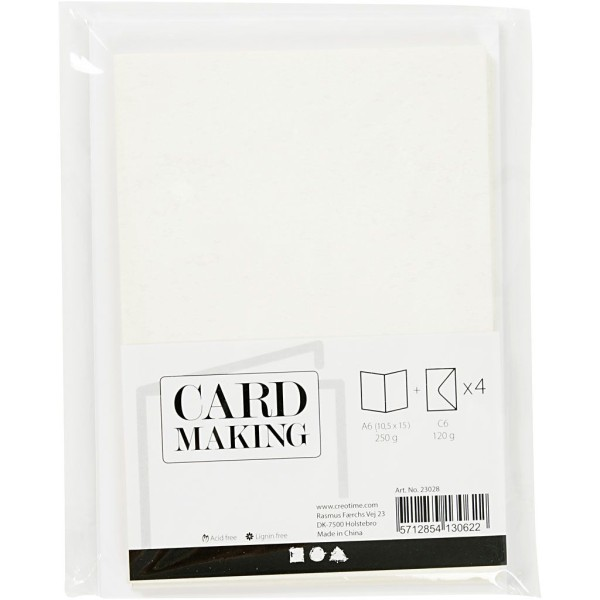 Cartes doubles et enveloppes - Paillettes blanches - 10,5 x 15 cm - 8 pcs - Photo n°2