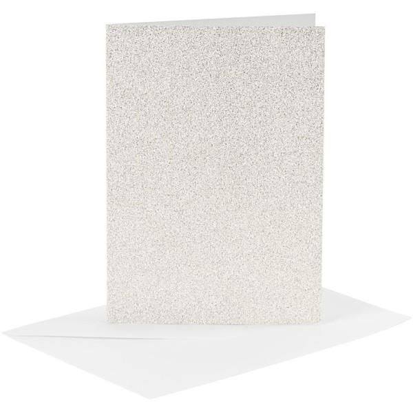 Cartes doubles et enveloppes - Paillettes blanches - 10,5 x 15 cm - 8 pcs - Photo n°1