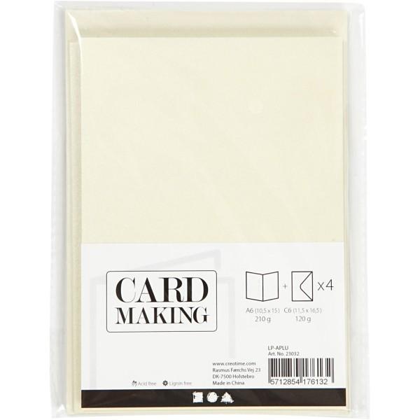 Cartes doubles et enveloppes - Blanc cassé nacré - 10,5 x 15 cm - 8 pcs - Photo n°2