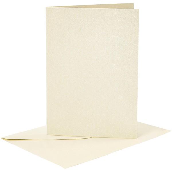 Cartes doubles et enveloppes - Blanc cassé nacré - 10,5 x 15 cm - 8 pcs - Photo n°1