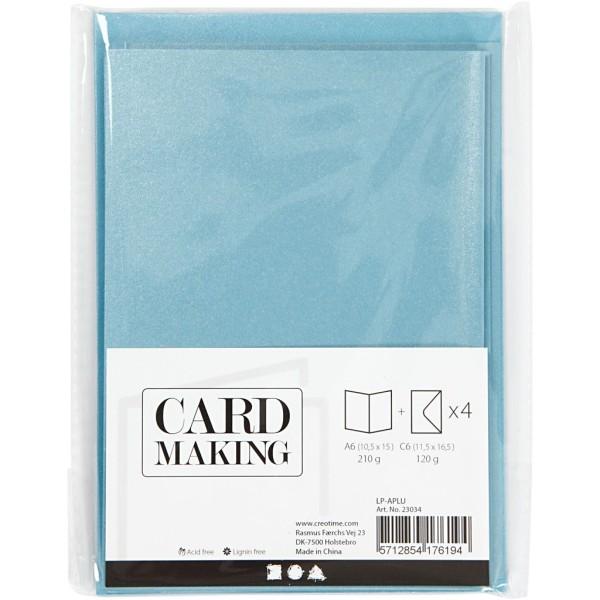 Cartes doubles et enveloppes - Bleu nacré - 10,5 x 15 cm - 8 pcs - Photo n°2