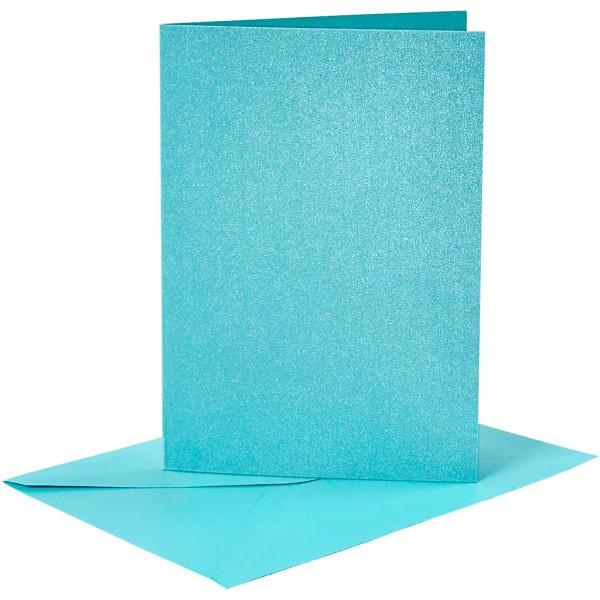 Cartes doubles et enveloppes - Bleu nacré - 10,5 x 15 cm - 8 pcs - Photo n°1