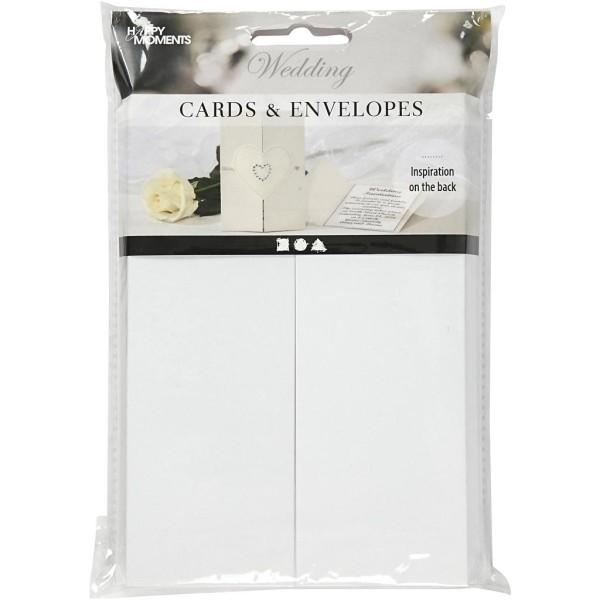 Cartes 10,5 x 15 cm et enveloppes - Blanc nacré - 10 sets - Photo n°2