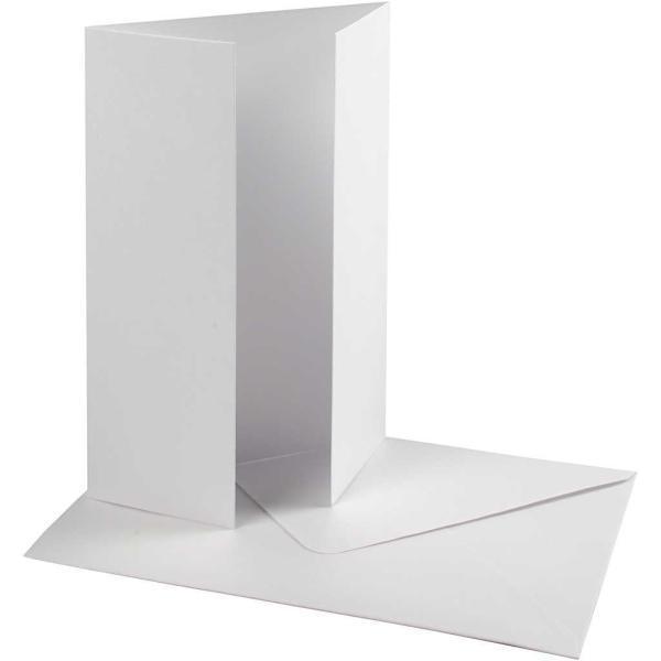 Cartes 10,5 x 15 cm et enveloppes - Blanc nacré - 10 sets - Photo n°1