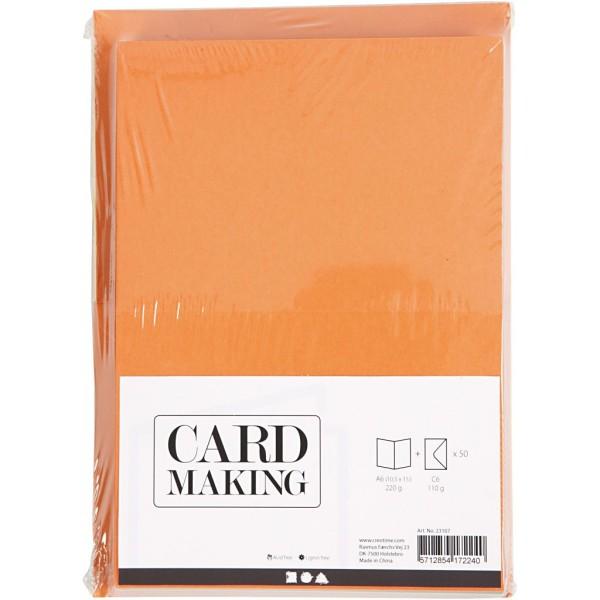 Cartes 10,5 x 15 cm et enveloppes - Assortiment de couleurs - 50 sets - Photo n°2