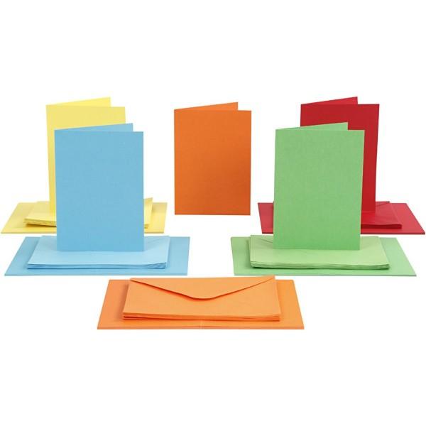 Cartes 10,5 x 15 cm et enveloppes - Assortiment de couleurs - 50 sets - Photo n°1
