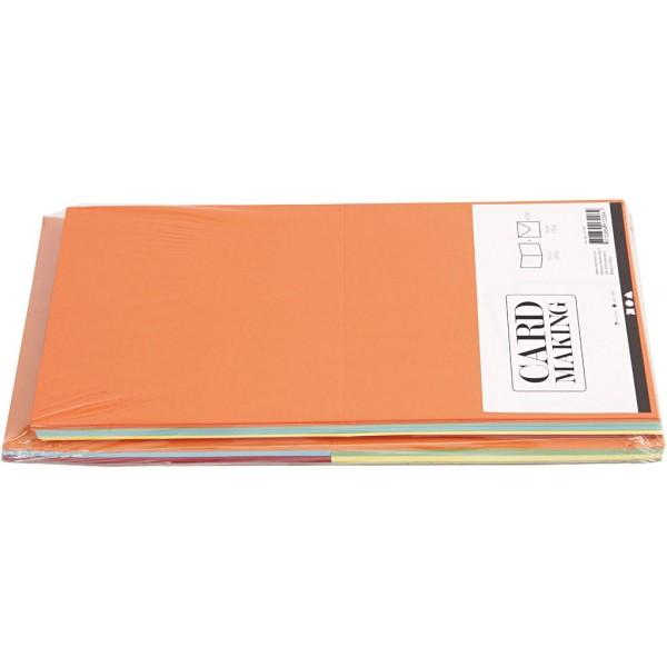 Cartes 15 x 15 cm et enveloppes - Assortiment de couleurs - 50 sets - Photo n°3