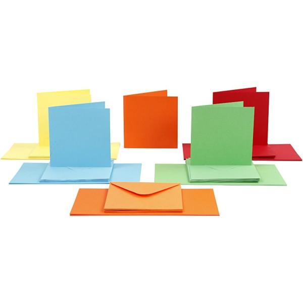 Cartes 15 x 15 cm et enveloppes - Assortiment de couleurs - 50 sets - Photo n°1