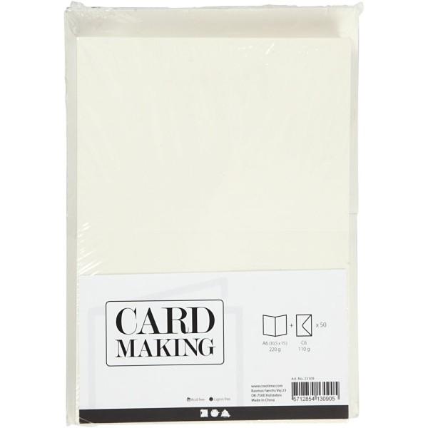 Cartes 10,5 x 15 cm et enveloppes - Blanc cassé - 50 sets - Photo n°2