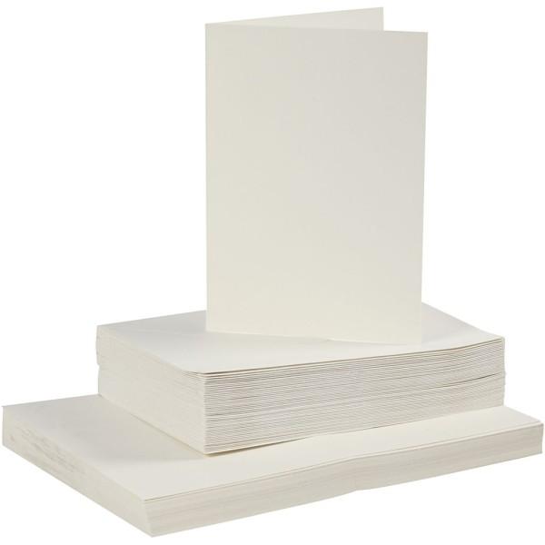 Cartes 10,5 x 15 cm et enveloppes - Blanc cassé - 50 sets - Photo n°1