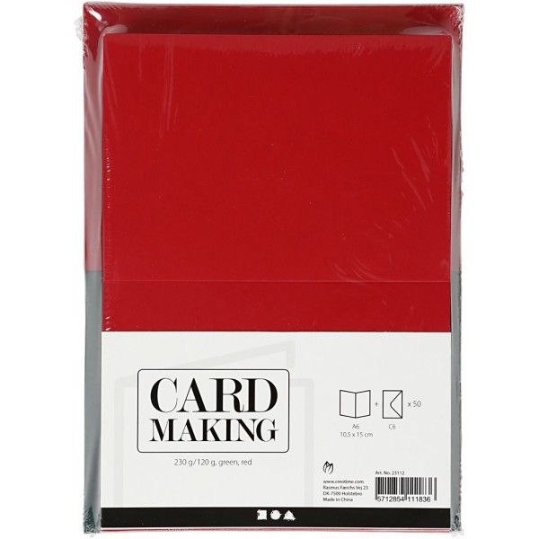 Cartes 10,5 x 15 cm et enveloppes - Vert et rouge - 50 sets - Photo n°2