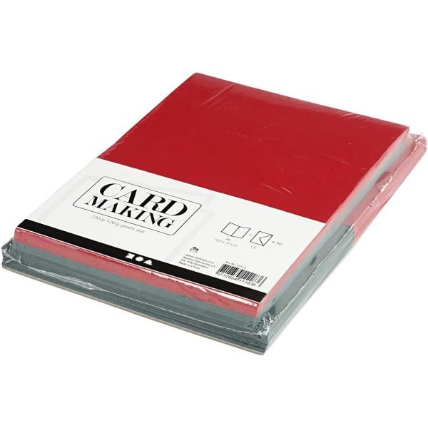 Cartes 10,5 x 15 cm et enveloppes - Vert et rouge - 50 sets - Photo n°3
